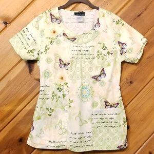 Butterfly Scrub Top Tshirt Pockets Cherokee Small